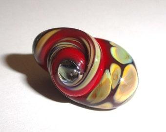 The Big Snail in Red! Handmade Lampwork Bead Raku Glass Shell beach water summer shore ocean water sea summer Beatlebaby Sra