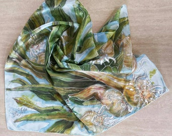 Green Onions Hand Painted Silk