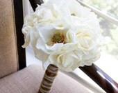 Rustic Bridal Bouquet Real Touch Roses Magnolias White Cream Ivory Wedding Flowers