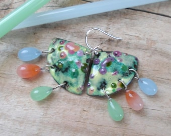 Enamel Earrings, Handmade Lampwork Earrings, Handmade Enamel Copper Jewelry, Chandelier Earrings, Handmade Jewelry Gift for Her
