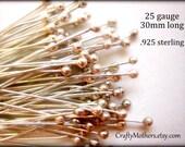 29% SALE! (Code: FROSTY) 50 pieces Sterling Silver Ball Headpins, 25 gauge / 30mm, Genuine Bali Artisan-made supplies, precious metals