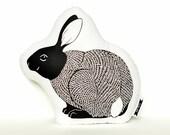 rabbit pillow, rabbit plush, animal pillow, bunny pillow, bunny plush, black and white pillow, bunny cushion
