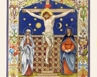 antique catholic religion illustration Jesus on the cross digital download