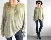 Sage Chenille Sweater Distressed Oversized Sweater Womens Sweaters 90s Grunge Fuzzy Sweater Goth Minimalist 90s Clothing Hipster Sweater OS