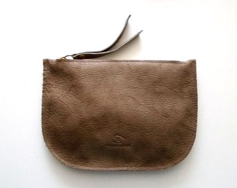 Brown leather zipper purse, Makeup Bag , leather wallet ,leather purse