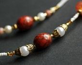 Glasses Necklace or ID Necklace. Burnt Sienna Badge Lanyard. Eyeglass Necklace. Dark Red Lanyard. Beaded Lanyard. Gold Eyeglass Chain.