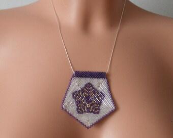 Purple Star Beaded Necklace