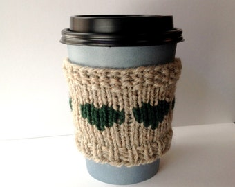 Knit Coffee Cozy, Forest Green Hearts, Wool Coffee Sleeve, Eco Friendly Gift, Reusable Cup Sleeve