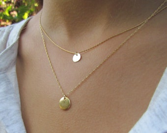 Two Layered Disc Necklaces, Simple Gold Necklaces, Gold Disc Necklaces, Hammered Gold Disc Necklace