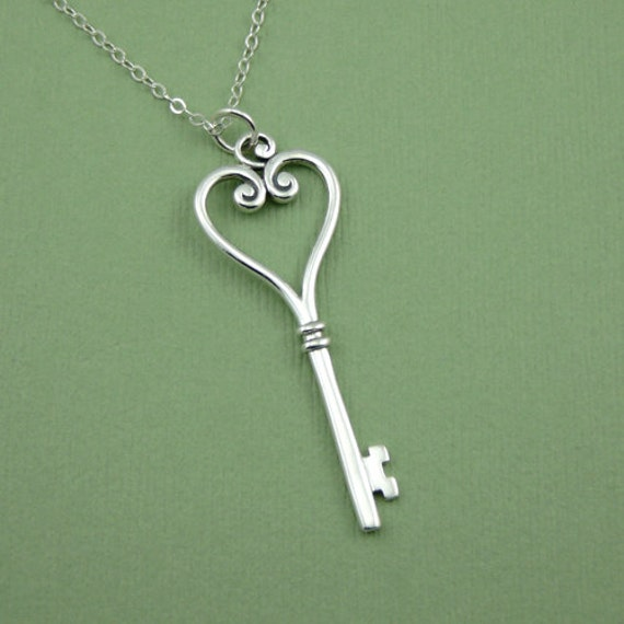 skeleton key necklace sterling silver key pendant