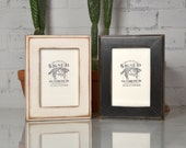 """5x7"""" Picture Frame in Wide Outside Cove Style in Finish COLOR of YOUR CHOICE - Distressed Wood 5x7 Frame"""