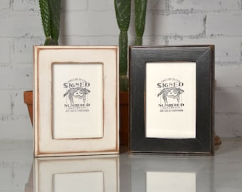 "5x7"" Picture Frame in Wide Outside Cove Style in Finish COLOR of YOUR CHOICE - Distressed Wood 5x7 Frame"