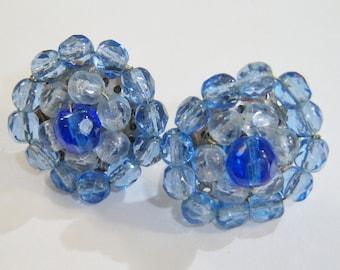 hues of blue cluster screw on or screw backs earrings 14IN