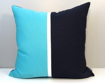 Decorative Outdoor Pillow Cover, Modern Navy Blue & Turquoise Color Block, Scuba Blue White Colorblock Sunbrella Cushion Cover, Mazizmuse