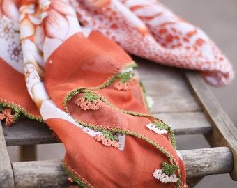 handmade - Lacework scarf - Turkish Scarf With Crochet Lace - Yemeni - Brown