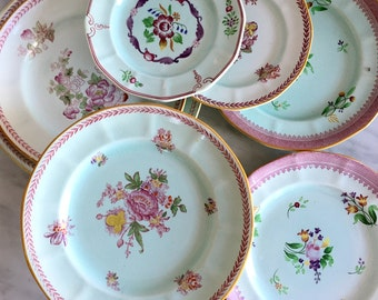 Instant Vintage Plate Collection Set of Six Cottage Chic Farmhouse Wall Decor Mint Home Decor Vintage Serving Ware