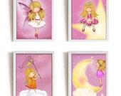 Art for girls room, kids wall art, girls wall art, Set of 4 kids wall decor, pink nursery decor, nursery decor girl, fairy, princess, moon