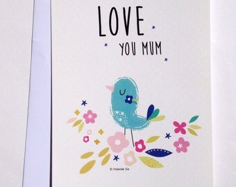 """Cards for mother's day, """"Love you mum"""" with a white envelope, 4 x6 """""""
