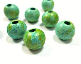 Round greek ceramic beads, turquoise / green 11mm beads - 8
