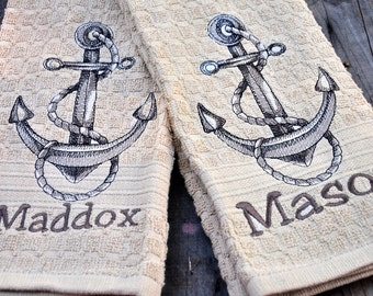 Pair of Personalized Embroidered Dish Towel, Kitchen Towel, or Hand Towel, anchor towel, beach towel, beach theme, beach decor, boat