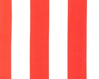 Michael Miller Fabric Two by Two Stripe Stripes 2 Inches Wide White and Clementine Coral