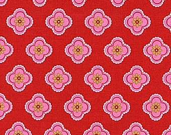 Ooh La La Fabric by Pillow and Maxfield for Michael Miller Petite Fleurs Pink Floral Flowers on Red