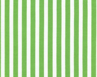 Simple Tribeca Stripe Fabric by Timeless Treasures 3/8 Inch Wide Stripe Stripes White and Green