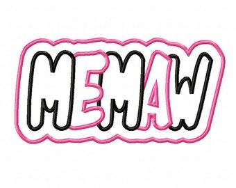 Memaw 2 Color Double Embroidery Machine Applique Design 4334