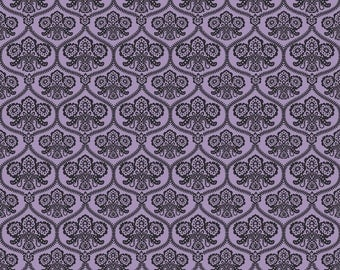 Happy Haunting Halloween Damask Purple  C4671 Riley Blake Fabric
