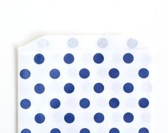 Navy Blue Polka Dot Party Favor Bags, Blue Dot Goody Bags, 4th of July Treat Bags (20) - 5 x 7.5 inches