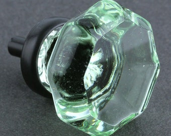 "Bottle Green Cut Glass Knob 1-7/16"" Brushed Nickel Chrome or Oil Rubbed Finishes"