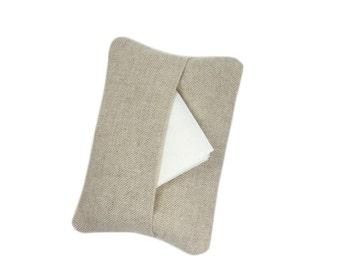 Plain Linen Tissue Case,  Gift for Teacher, Travel Tissue Pouch, Pocket Tissue Holder, Unisex Gift