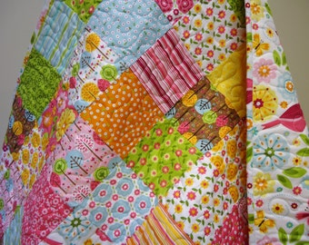 Baby Girl Quilt-Modern Woodland Birds-Floral Crib Bedding-Riley Blake-Summer Song 2 Patchwork Baby Blanket