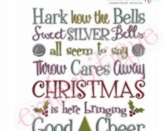 Carol of the Bells - How hark the bells - Christmas Carol - Instant Email Delivery Download Machine embroidery design