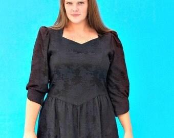Stunning Retro 1980s Vintage Lanz Originals Black Brocade Dress