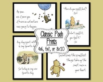 Set of 4 Classic Winnie the Pooh Quotes - 4x6, 5x7, or 8x10 prints