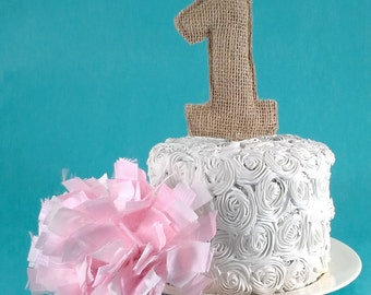 Burlap Number, Rustic Burlap First birthday topper, Burlap M139 - burlap number cake decoration
