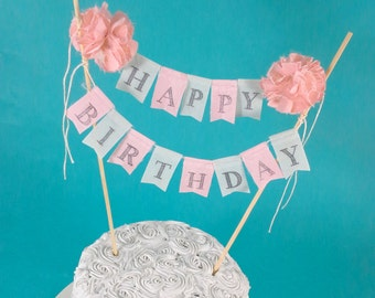 Shabby chic cake bunting, Coral mint Happy Birthday cake banner topper,  Cake Bunting E314 - cake topper