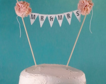 "Cake topper, wedding, Peach, Coral wedding ""Mr & Mrs"" Banner F223 - shabby chic wedding bunting decoration"