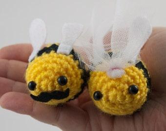 Wedding cake topper Bee moustache veil crochet