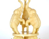 Vintage Trio of Elephants Figurine Faux Ivory Plastic Smaller Sized Good Luck