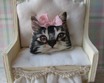 OoAK Dollhouse miniature cat kitty cottage chic pillow w/ pink bow
