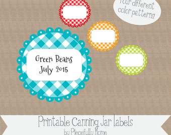 Printable and Editable Canning Jar Labels, 2 inch, GIngham Flower