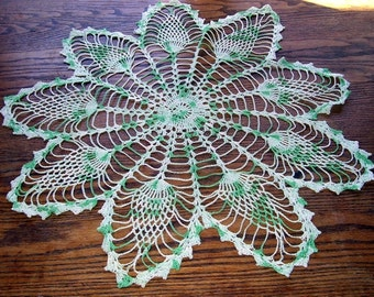 28 Inch Green and White Pineapple Pattern Hand Crocheted Cotton Doily, Parlor Table Decor, Home Decor,  Night Stand Doily, Crocheted Doily