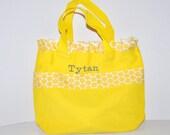 Yellow Personalized Bag with Name Embroidered on it, Ruffle Yellow Polka Dot Ribbon. Dance Bag, Swim bag, Book Bag, Princess Bag