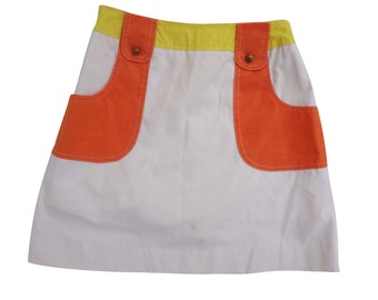 Arnold Palmer Mod Squad Colorblocked Mini MiniSkirt Orange Yellow Buttons Vintage Tennis Chic 4
