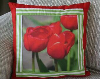 Luscious Red Tulips Fabric Panel 9 x 9