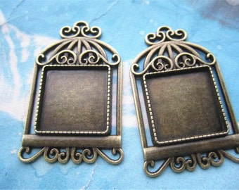 NEW COME 5 pcs 50x35mm antiqued bronze Rectangle Birdcage cameo/cabochon base setting pendant blanks(fit 20x20mm cabochon)