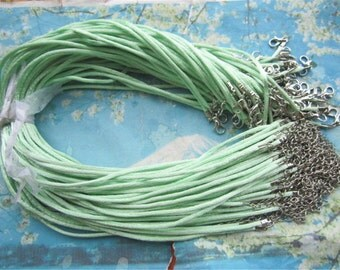 20pcs 16-18 inch adjustable 2mm Light green satin necklace cords with lobster clasps