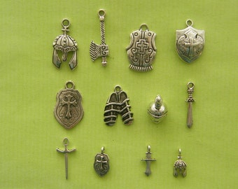 The Armour Collection - 12 antique silver tone charms